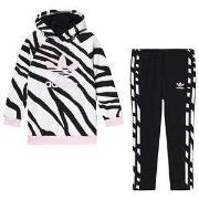 adidas Originals Black & Pink Animal Print Trefoil Logo Hoodie & Botto...