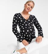 ASOS DESIGN Maternity – Blommig topp med knäppning framtill-Svart/a