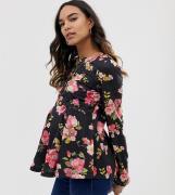 ASOS DESIGN - Mammakläder - Blommig amningstopp i långärmat-Flerfärgad
